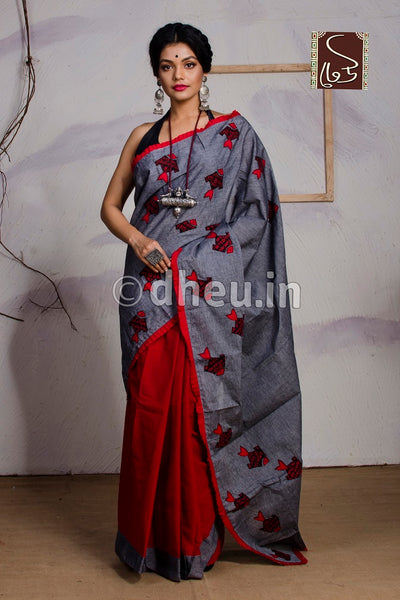 Fish-Dheu Exclusive Applique Saree - Boutique Dheu