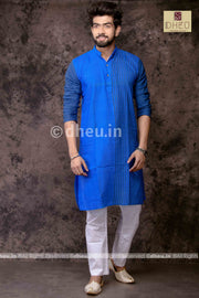 Blue Lagoon - Handloom Pure Cotton Saree-Kurta  Couple Set