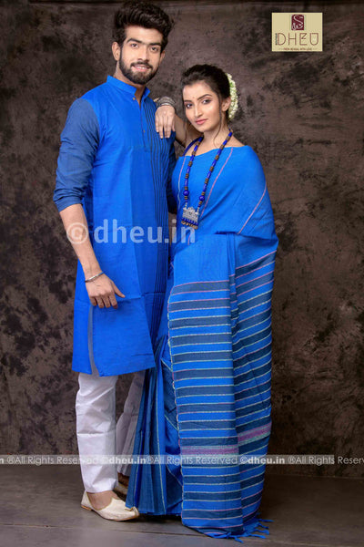 Blue Lagoon - Handloom Pure Cotton Saree-Kurta  Couple Set - Boutique Dheu