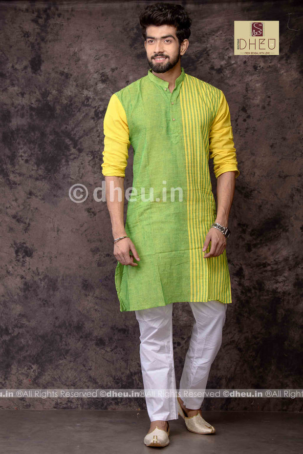 Gorgeous Green - Handloom Pure Cotton Saree-Kurta Couple Set - Boutique Dheu