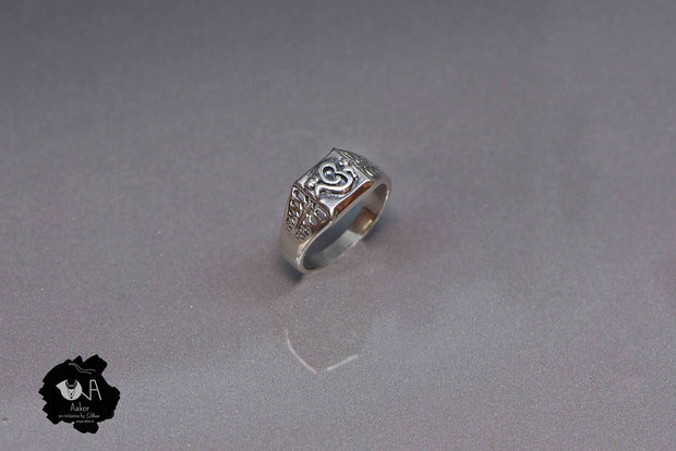 Pure Silver Handcrafted Om Ring for Men - Boutique Dheu