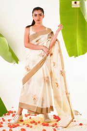 Kasavu- Designer Embroidery Saree - Boutique Dheu