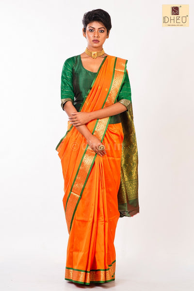 Dheu Boutique-Kanchipuram Silk Orange colour  Saree-Ethnic Wear