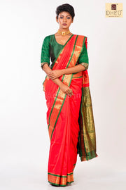 Dheu Boutique-Kanchipuram Silk Red colour  Saree-Ethnic Wear