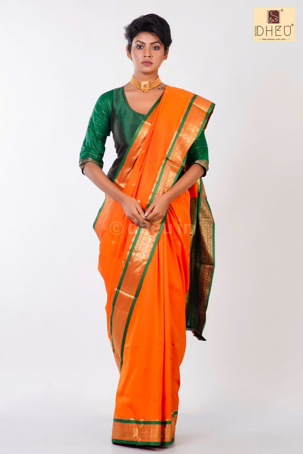 Dheu Boutique-Kanchipuram Silk Orange-Green colour  Saree-Ethnic Wear