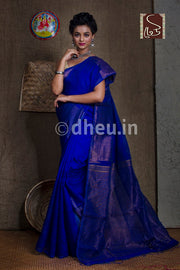 Blue  Handloom Silk Cotton Zaripar