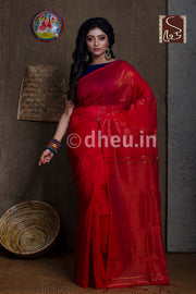 Red Handloom Silk Cotton Zaripar - Boutique Dheu