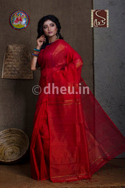 Red Handloom Silk Cotton Zaripar