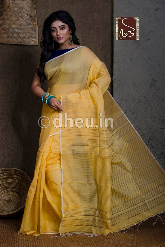 Yellow Handloom Silk Cotton Zaripar