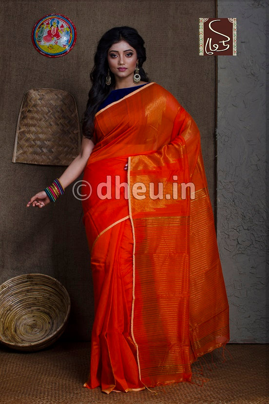 Orange Handloom Silk Cotton Zaripar - Boutique Dheu