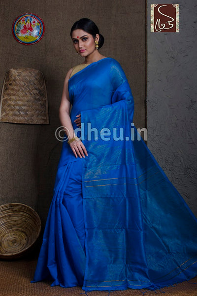 Blue Handloom Silk Cotton Zaripar - Boutique Dheu