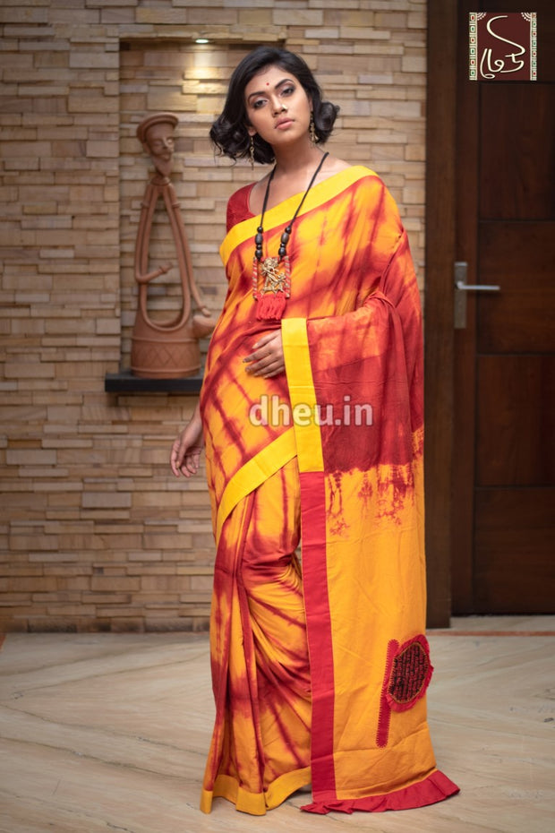 Pakha-Sibori - Applique Fusion-Dheu Exclusive Saree - Boutique Dheu