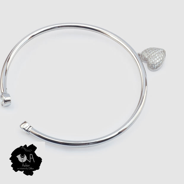 Pure Silver Love Bangle - Boutique Dheu