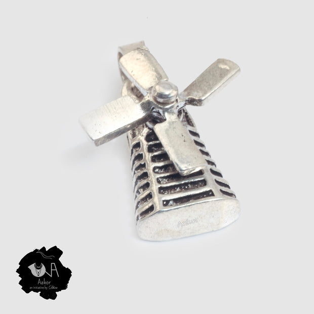 Pure Silver Oxidized Air Turbine Pendant - Boutique Dheu