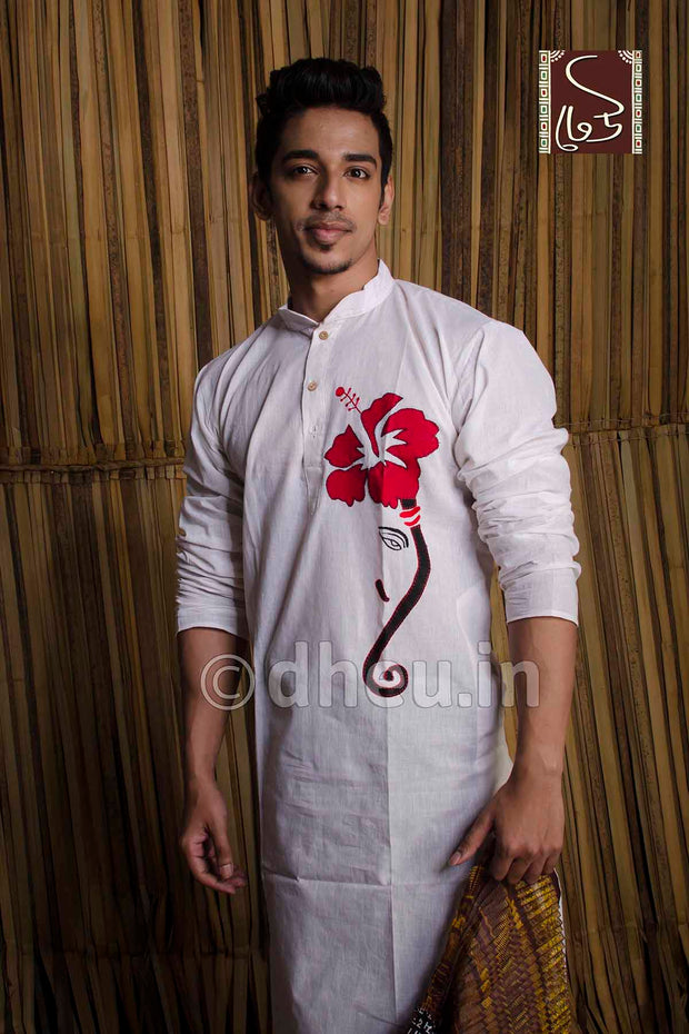 Joba-Handloom Cotton Applique kurta - Boutique Dheu