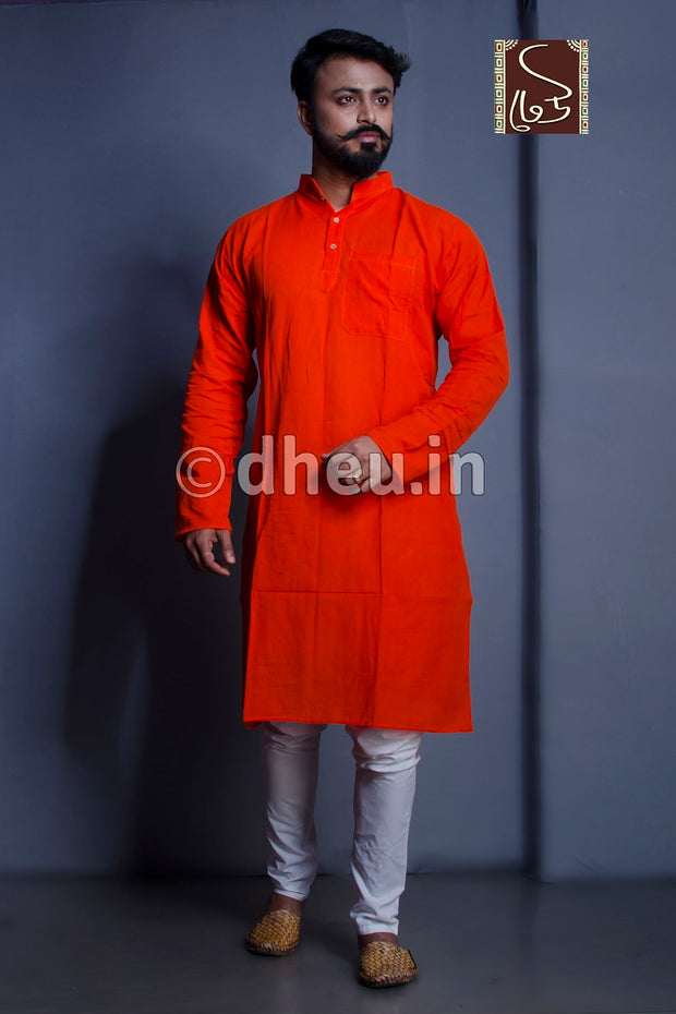 Orange Pure Cotton kurta for men - Boutique Dheu