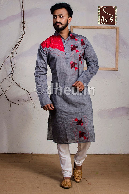 Fish applique -Handloom Cotton Applique kurta