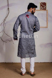 Fish applique -Handloom Cotton Applique kurta - Boutique Dheu