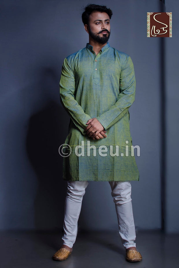 Moss Green Pure Cotton kurta for men - Boutique Dheu