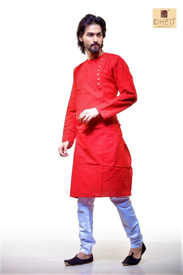 Red Cotton  Kurta for Men BDK4013