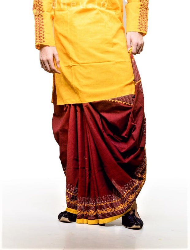 Dheu | Designer Maroon Kantha Dhoti- Ready to wear - Boutique Dheu