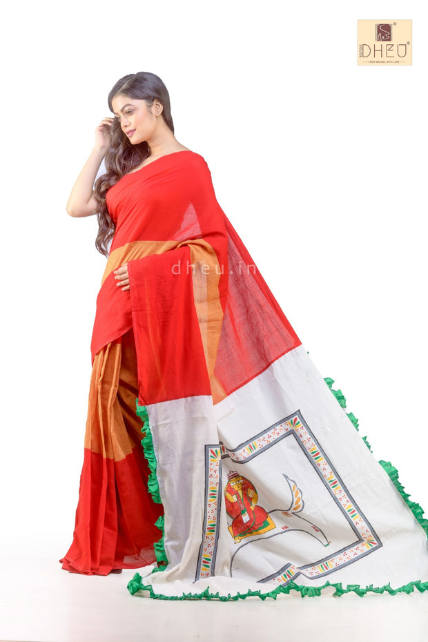 Puja Collection Cotton Fusion-Dheu Exclusive Jamini Roy Saree - Boutique Dheu