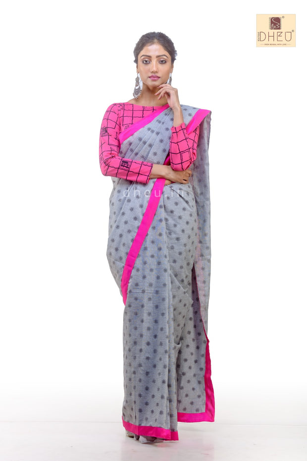 Puja Collection Cotton Fusion-Dheu Exclusive Saree
