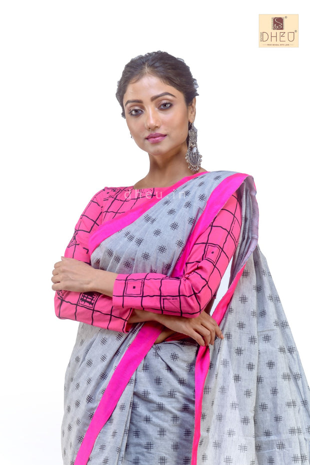 Puja Collection Cotton Fusion-Dheu Exclusive Saree - Boutique Dheu