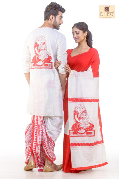 Dheu Designer Couple set-Inspired by Jamini Roy- DDC1009 - Boutique Dheu