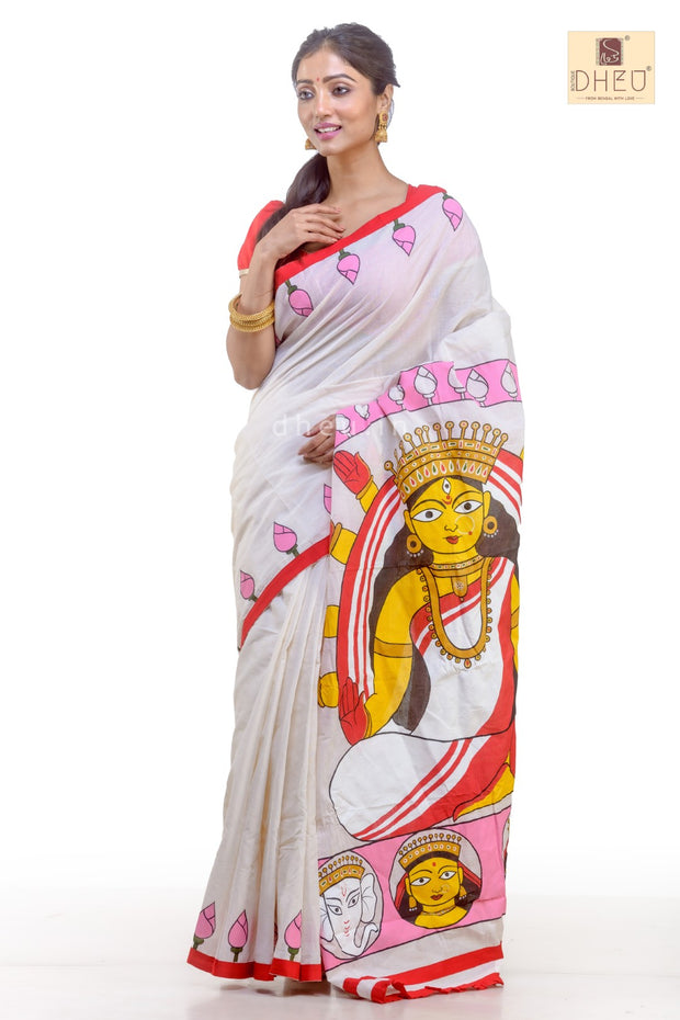 Puja Collection Cotton Fusion-Dheu Exclusive Durga Saree