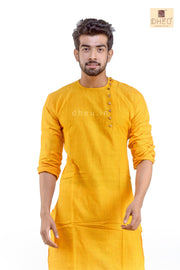 Yolksum Yellow- Cotton  Kurta for Men - Boutique Dheu