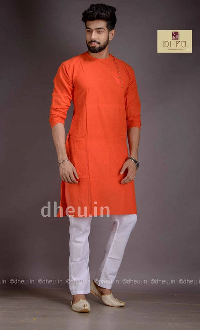 Orange Cotton  Kurta for Men - Boutique Dheu