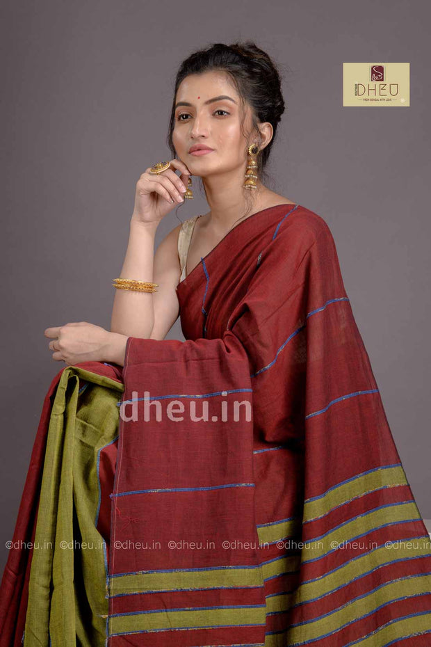 Maroon-Green- Handloom Pure Cotton Saree-Kurta Couple Set