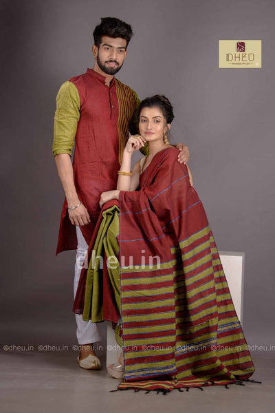 Maroon-Green- Handloom Pure Cotton Saree-Kurta Couple Set - Boutique Dheu