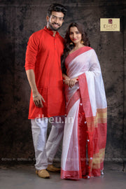 Handloom Saree-Kurta Couple Set