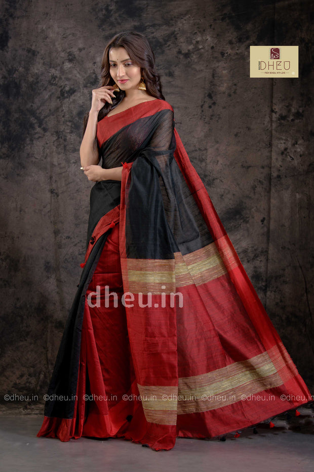 """Dheu Boutique ""-Bengal Handloom Red-Black Colour  saree"