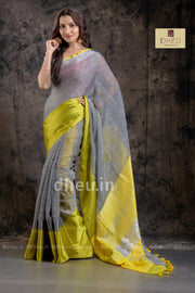 Yellow-Grey Mahapar - Linen Saree