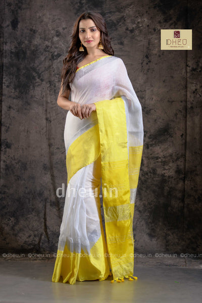 Handloom Linen Mahapar Saree - Boutique Dheu