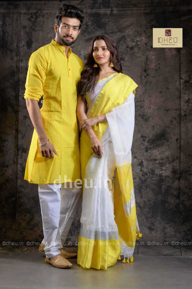 Handloom Linen Saree-Kurta Couple Set - Boutique Dheu