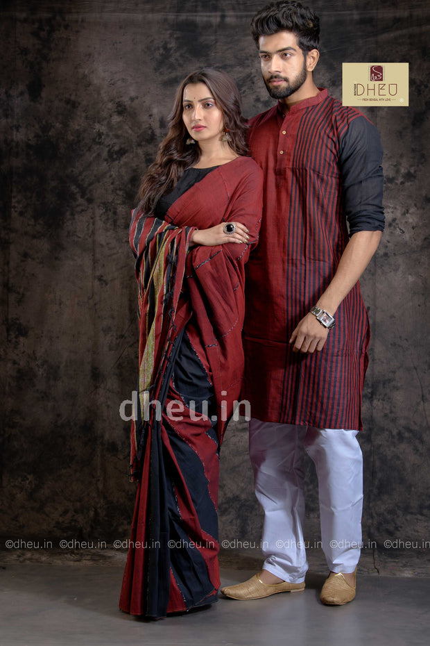 Misterious Maroon-Handloom Pure Cotton Saree-Kurta Couple Set - Boutique Dheu