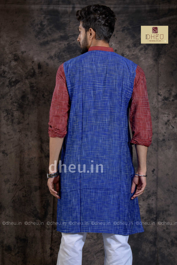 Handloom Pure Cotton Jharna-Khadi Saree-Kurta Couple Set - Boutique Dheu