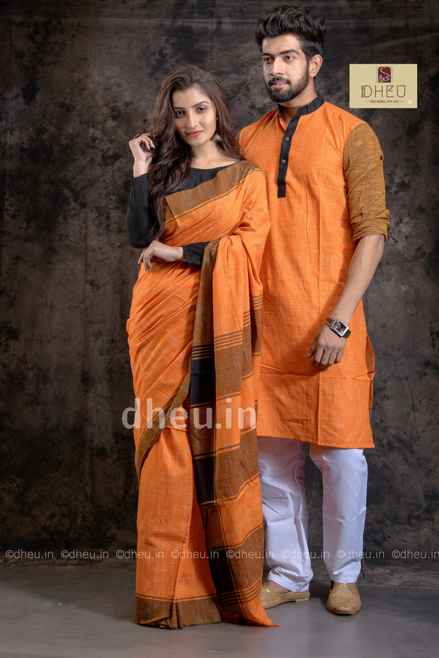 Handloom Pure Cotton Jharna-Khadi Saree-Kurta Couple Set
