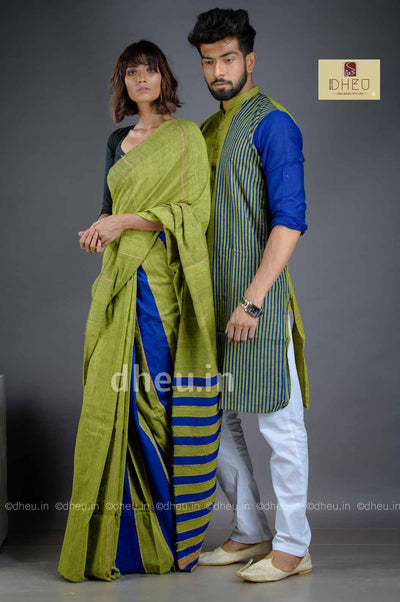 Green-Blue- Handloom Pure Cotton Saree-Kurta Couple Set - Boutique Dheu