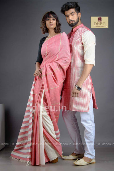 Rose Pink- Handloom Pure Cotton Saree-Kurta Couple Set - Boutique Dheu