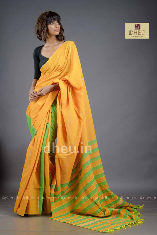 Yellow-Green- Handloom Pure Cotton Saree-Kurta Couple Set - Boutique Dheu