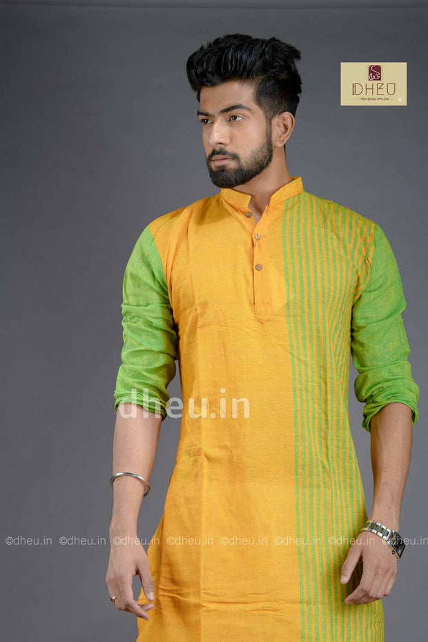 Yellow-Green- Handloom Pure Cotton Saree-Kurta Couple Set