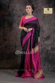 """Dheu Boutique ""-Bengal Handloom Pink-Black Colour  saree"
