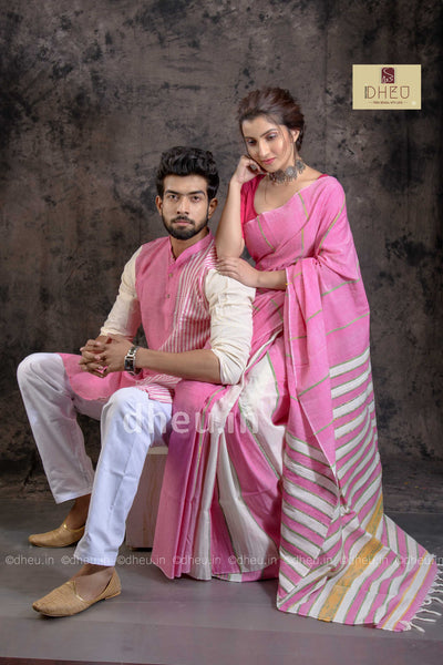 Pinky Pink-Handloom Pure Cotton Saree-Kurta Couple Set - Boutique Dheu