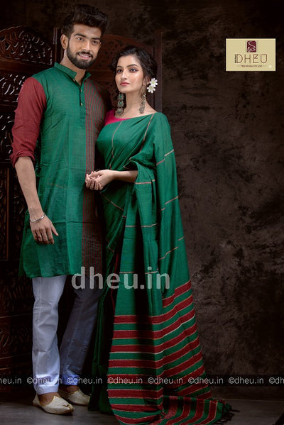 Green-Maroon- Handloom Pure Cotton Saree-Kurta Couple Set - Boutique Dheu