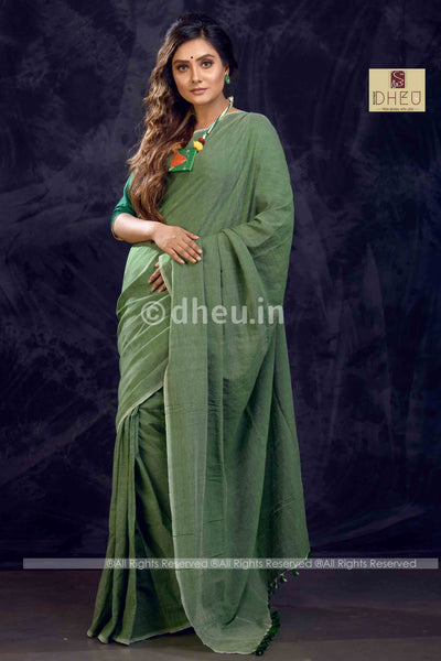 """Dheu Boutique ""Albeli – The Urban Drapes   Green Colour  saree"